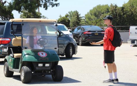 Junior Alden Shive pleads his case to go to his car to security guard Kelsey Gonzalez.