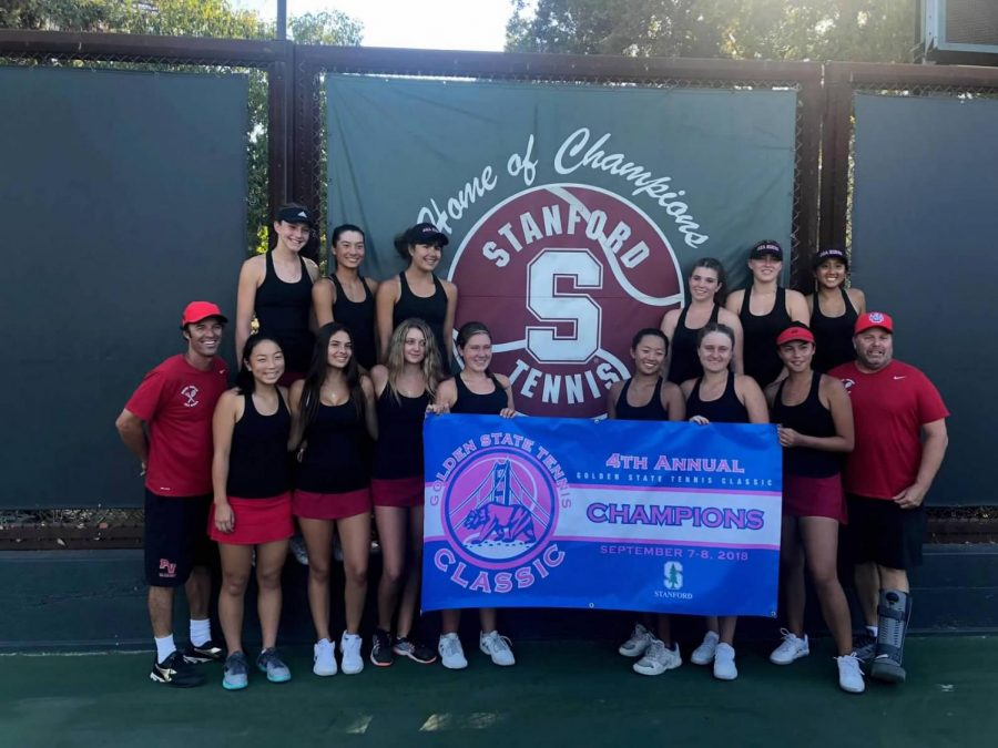 Varsity Girls' Tennis celebrates their victory at the Golden State Tennis Classic.