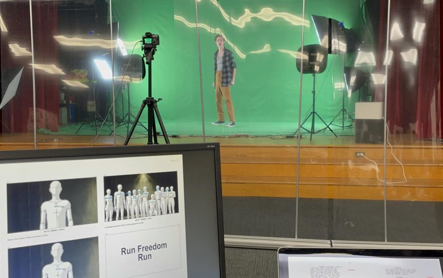 Senior Hayden Kharrazi and his castmates performed separately in front of a green screen. All of the performances were then edited togethre as a cohesive show. (Photo courtesy of Nicole Thompson)